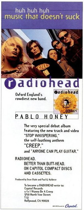 Radiohead's Pablo Honey advertisement
