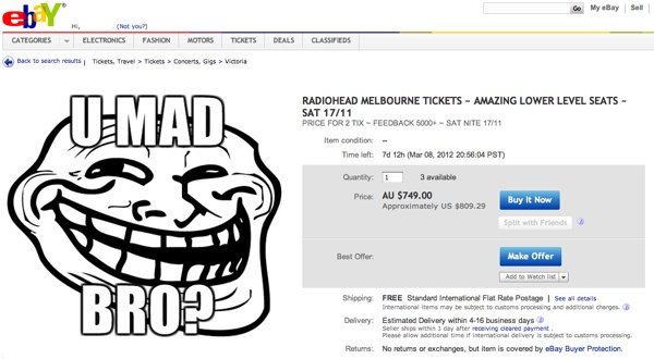 Scalpers selling tickets on eBay