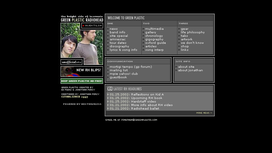 Screenshot of greenplastic.com from 2002